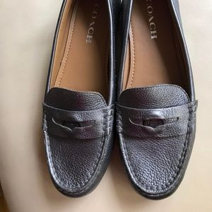 Size 8 Genuine Coach Leather Pewter Loafers